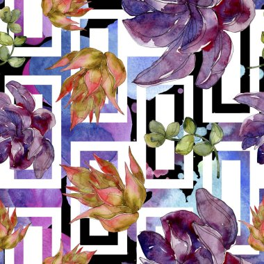 Exotic tropical hawaiian botanical succulents. Watercolor illustration set. Seamless background pattern. Fabric wallpaper print texture. stock vector