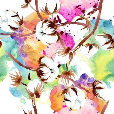 Cotton botanical flowers. Watercolor illustration set. Seamless background pattern. Fabric wallpaper print texture. stock vector
