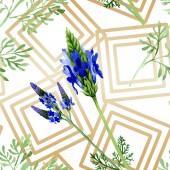 Modrá fialová levandule květ. Divoký jarní listové wildflower izolován. Sada akvarel ilustrace. Akvarel výkresu módní aquarelle. Vzor bezešvé pozadí. Fabric tapety tisku textura