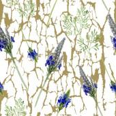 Kék ibolya levendula virág. Vad tavaszi levél vadvirág elszigetelt. Akvarell illusztráció készlet. Akvarell rajz divat aquarelle. Varratmentes háttérben minta. Anyagot a nyomtatási textúrát