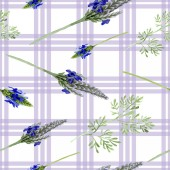 Blue violet lavender flower. Wild spring leaf wildflower isolated. Watercolor illustration set. Watercolour drawing fashion aquarelle. Seamless background pattern. Fabric wallpaper print texture.