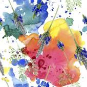 Modrá fialová levandule květ. Divoký jarní listové wildflower izolován. Sada akvarel ilustrace. Akvarel výkresu módní aquarelle. Vzor bezešvé pozadí. Fabric tapety tisku textura.