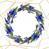 Modrá fialová levandule květinové botanické květin. Divoký jarní listové wildflower izolován. Sada akvarel pozadí obrázku. Akvarel výkresu módní aquarelle. Frame hranice ozdoba náměstí