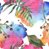 Exotické havajské tropické léto. Palm beach tree listy. Sada akvarel ilustrace. Akvarel, samostatný výkresu módní aquarelle. Vzor bezešvé pozadí. Fabric tapety tisku textura