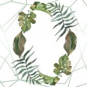 Exotické havajské tropické léto. Palm beach tree listy. Sada akvarel pozadí obrázku. Akvarel, samostatný výkresu módní aquarelle. Frame hranice ozdoba náměstí