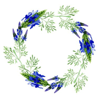 Blue violet lavender floral botanical flower. Wild spring leaf wildflower isolated. Watercolor background illustration set. Watercolour drawing fashion aquarelle. Frame border ornament square. stock vector
