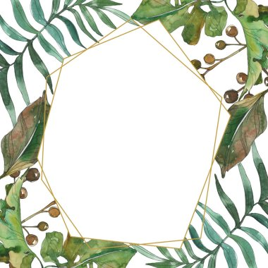 Exotic tropical hawaiian summer. Palm beach tree leaves. Watercolor background illustration set. Watercolour drawing fashion aquarelle isolated. Frame border ornament square. stock vector