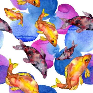 Spotted aquatic underwater colorful fish set. Red sea and exotic fishes inside. Watercolor illustration set. Watercolour drawing fashion aquarelle. Seamless background pattern. Fabric wallpaper print. stock vector