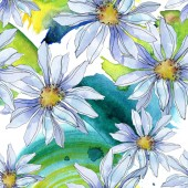 daisies with green leaves watercolor illustration, seamless background pattern