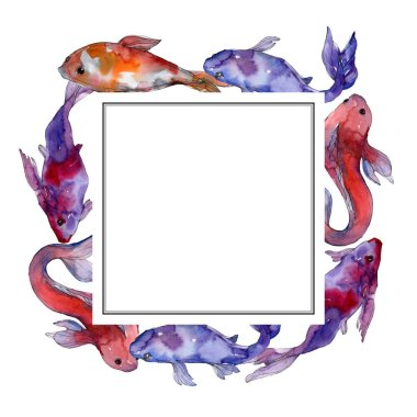 Aquatic underwater tropical fish set. Red sea and exotic fishes inside: Goldfish. Watercolor background illustration set. Watercolour drawing fashion aquarelle isolated. Frame border ornament square. stock vector