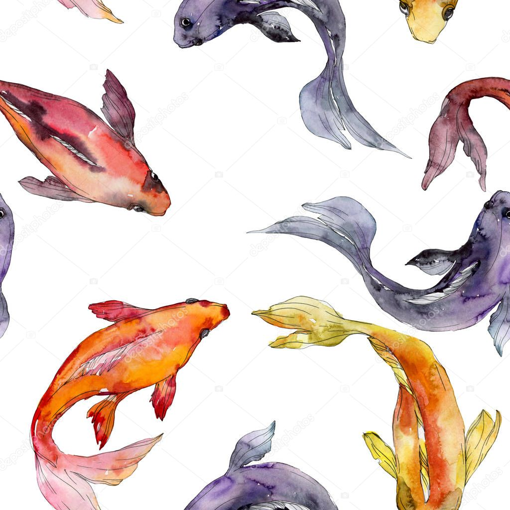 Aquatic fish set. Red sea and exotic fishes inside: Goldfish. Watercolor illustration set. Watercolour drawing fashion aquarelle. Seamless background pattern. Fabric wallpaper print texture. stock vector