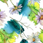 chamomiles and daisies with green leaves watercolor illustration, seamless background pattern