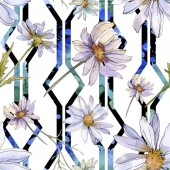 Fotografie chamomiles and daisies with green leaves watercolor illustration, seamless background pattern
