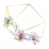 Fotografie chamomiles and daisies with green leaves watercolor illustration set, frame border ornament with copy space