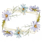 chamomiles and daisies with green leaves watercolor illustration set, frame border ornament with copy space