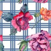 Piros és rózsaszín rózsa virág botanikai virág. Vad tavaszi levél elszigetelt. Akvarell illusztráció készlet. Akvarell rajz divat aquarelle. Varratmentes háttérben minta. Anyagot a nyomtatási textúrát.
