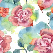 Fotografia Fiore rosso e rosa rosa floreale botanica. Foglia di primavera selvaggio isolato. Insieme dellillustrazione dellacquerello. Aquarelle di moda disegno acquerello. Reticolo senza giunte della priorità bassa. Stampa tessuto per tappezzeria