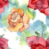 Fotografia Fiore arancione e rosso Rose floreale botanica. Foglia di primavera selvaggio isolato. Insieme dellillustrazione dellacquerello. Aquarelle di moda disegno acquerello. Reticolo senza giunte della priorità bassa. Stampa tessuto per tappezzeria