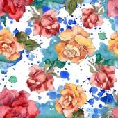 Oranžové a červené růže květinové botanické květin. Divoký jarní listové izolované. Sada akvarel ilustrace. Akvarel výkresu módní aquarelle. Vzor bezešvé pozadí. Fabric tapety tisku textura.