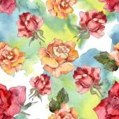 Narancssárga és piros rózsa virág botanikai virág. Vad tavaszi levél elszigetelt. Akvarell illusztráció készlet. Akvarell rajz divat aquarelle. Varratmentes háttérben minta. Anyagot a nyomtatási textúrát.