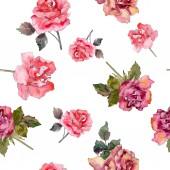 Rózsaszín rózsa botanikai virág virág. Vad tavaszi levél elszigetelt. Akvarell illusztráció készlet. Akvarell rajz divat aquarelle. Varratmentes háttérben minta. Anyagot a nyomtatási textúrát.