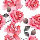 Růžové růže květinové botanické květin. Divoký jarní listové izolované. Sada akvarel ilustrace. Akvarel výkresu módní aquarelle. Vzor bezešvé pozadí. Fabric tapety tisku textura