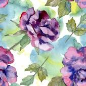 blau und lila rosa blühende botanische Blume. wildes Frühlingsblatt isoliert. Aquarell-Illustrationsset vorhanden. Aquarell Zeichnung Aquarell. nahtlose Hintergrundmuster. Stoff Tapete drucken Textur.
