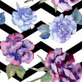Kék és lila Rózsa virág botanikai virág. Vad tavaszi levél elszigetelt. Akvarell illusztráció készlet. Akvarell, rajz aquarelle. Varratmentes háttérben minta. Anyagot a nyomtatási textúrát.