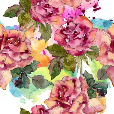 Maroon pink rose floral botanical flower. Wild spring leaf isolated. Watercolor illustration set. Watercolour drawing fashion aquarelle. Seamless background pattern. Fabric wallpaper print texture. stock vector