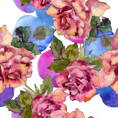 Maroon pink rose floral botanical flower. Wild spring leaf isolated. Watercolor illustration set. Watercolour drawing fashion aquarelle. Seamless background pattern. Fabric wallpaper print texture.