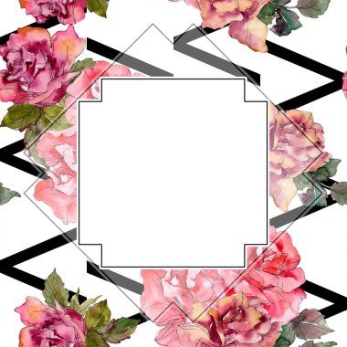 Pink rose floral botanical flower. Wild spring leaf wildflower isolated. Watercolor background illustration set. Watercolour drawing fashion aquarelle isolated. Frame border ornament square. stock vector