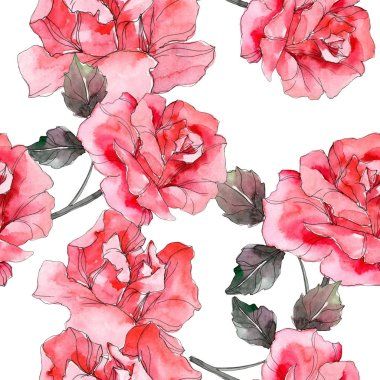 Pink rose floral botanical flower. Wild spring leaf isolated. Watercolor illustration set. Watercolour drawing fashion aquarelle. Seamless background pattern. Fabric wallpaper print texture.