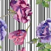 Lila és a piros rózsa botanikai virágok. Vad tavaszi levél elszigetelt. Akvarell illusztráció készlet. Akvarell rajz divat aquarelle. Varratmentes háttérben minta. Anyagot a nyomtatási textúrát.