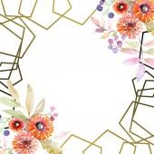 Fotografie Blumenstrauß botanische Blumen. wildes Frühlingsblatt Wildblume isoliert. Aquarell Hintergrundillustration Set. Aquarellzeichnung Modeaquarell isoliert. Rahmen Rand Ornament Quadrat.