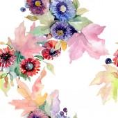 Csokor virág botanikai virágok. Vad tavaszi levél vadvirág elszigetelt. Akvarell illusztráció készlet. Akvarell rajz divat aquarelle. Varratmentes háttérben minta. Anyagot a nyomtatási textúrát