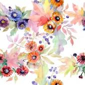 Csokor virág botanikai virágok. Vad tavaszi levél vadvirág elszigetelt. Akvarell illusztráció készlet. Akvarell rajz divat aquarelle. Varratmentes háttérben minta. Anyagot a nyomtatási textúrát.