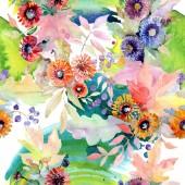 Fotografia Bouquet floreali Fiori botanici. Millefiori di foglia di primavera selvaggio isolato. Insieme dellillustrazione dellacquerello. Aquarelle di moda disegno acquerello. Reticolo senza giunte della priorità bassa. Stampa tessuto per tappezzeria