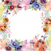 Csokor virág botanikai virágok. Vad tavaszi levél vadvirág elszigetelt. Akvarell háttér illusztráció készlet. Akvarell rajz divat aquarelle elszigetelt. Test határ Dísz tér.