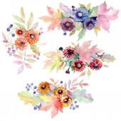 Fotografia Bouquet floreali Fiori botanici. Millefiori di foglia di primavera selvaggio isolato. Insieme di illustrazione dellacquerello della priorità bassa. Aquarelle di moda disegno acquerello. Elemento di illustrazione del mazzo isolato