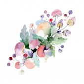 Bouquet with flowers and fruits. Wild spring leaf wildflower isolated. Watercolor background illustration set. Watercolour drawing fashion aquarelle. Isolated bouquet illustration element.