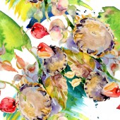 Kytice podzimní lesní plody. Divoký jarní listové izolované. Sada akvarel ilustrace. Akvarel, samostatný výkresu módní aquarelle. Vzor bezešvé pozadí. Fabric tapety tisku textura.