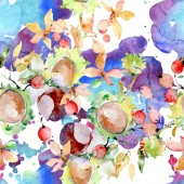 Bouquet of autumn forest fruits. Wild spring leaf isolated. Watercolor illustration set. Watercolour drawing fashion aquarelle isolated. Seamless background pattern. Fabric wallpaper print texture.
