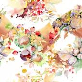 Kytice podzimní lesní plody. Divoký jarní listové izolované. Sada akvarel ilustrace. Akvarel, samostatný výkresu módní aquarelle. Vzor bezešvé pozadí. Fabric tapety tisku textura