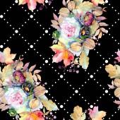 Csokorkészítés virág botanikai virág. Vad tavaszi levél elszigetelt. Akvarell illusztráció készlet. Akvarell rajz divat aquarelle elszigetelt. Varratmentes háttérben minta. Anyagot a nyomtatási textúrát.