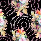 Kytice květinové botanické květin. Divoký jarní listové izolované. Sada akvarel ilustrace. Akvarel, samostatný výkresu módní aquarelle. Vzor bezešvé pozadí. Fabric tapety tisku textura