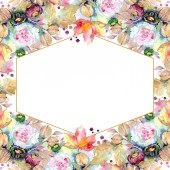Bouquets floral botanical flower. Wild spring leaf wildflower isolated. Watercolor background illustration set. Watercolour drawing fashion aquarelle isolated. Frame border ornament square.