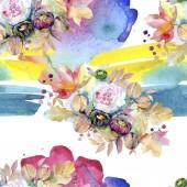 Botanico floreale di mazzi di fiori. Foglia di primavera selvaggio isolato. Insieme dellillustrazione dellacquerello. Aquarelle di moda disegno acquerello isolato. Reticolo senza giunte della priorità bassa. Stampa tessuto per tappezzeria