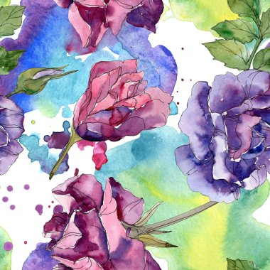 Purple and red rose botanical flowers. Wild spring leaf isolated. Watercolor illustration set. Watercolour drawing fashion aquarelle. Seamless background pattern. Fabric wallpaper print texture. stock vector