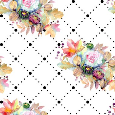 Bouquets floral botanical flower. Wild spring leaf isolated. Watercolor illustration set. Watercolour drawing fashion aquarelle isolated. Seamless background pattern. Fabric wallpaper print texture. stock vector