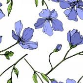 Vektor modré len květinové botanické květina. Divoký jarní listové wildflower izolován. Ryté inkoust umění. Vzor bezešvé pozadí. Fabric tapety tisku textura.